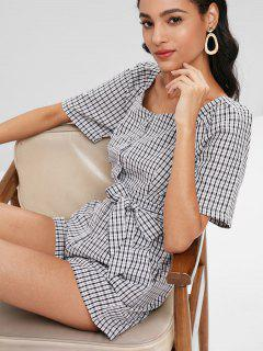 Casual Plaid Belted Romper - Black S