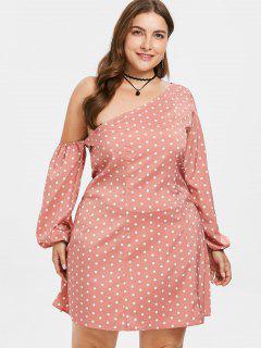Skew Collar Plus Size Polka Dot Dress - Light Coral 2x
