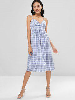 A Line Cami Plaid Casual Dress - Multi
