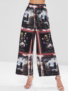Elastic Waist Landscape Painting Print Wide Leg Pants - Multi M