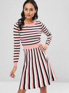 Striped Knitted A Line Dress - Pig Pink