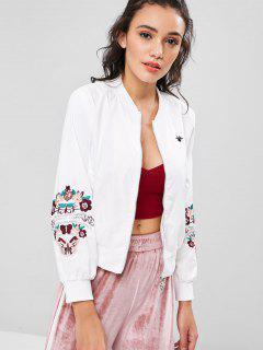 Zipper Flower Embroidered Jacket - White L
