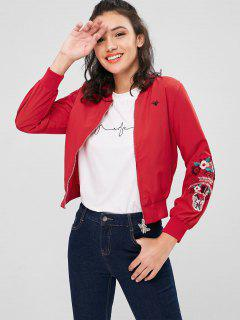 Zipper Flower Embroidered Jacket - Fire Engine Red M