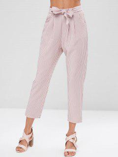 Stripes Belted Straight Pants - Khaki Rose S