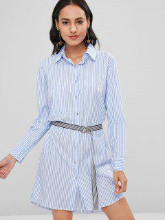 Striped Long Sleeve Shirt Dress With Belt - Sky Blue S