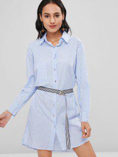 Vestido De Camisa De Manga Larga A Rayas Con Cinturón - Celeste L