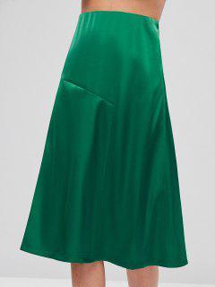 Satin Midi A Line Skirt - Deep Green L