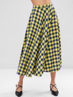 Checkered Full Midi Skirt - Multi L