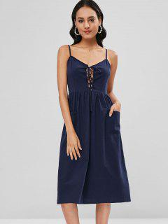 Cami Patch Pocket Lace Up Midi Dress - Deep Blue L