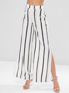 Striped Split Palazzo Wide Leg Pants - Multi S