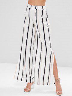 Striped Split Palazzo Wide Leg Pants - Multi M