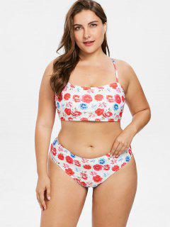Conjunto De Bikini Floral Cruzado Talla Grande - Multicolor-a 1x