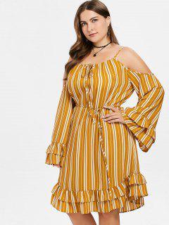 Ruffled Flare Sleeve Plus Size Striped Dress - School Bus Yellow 1x