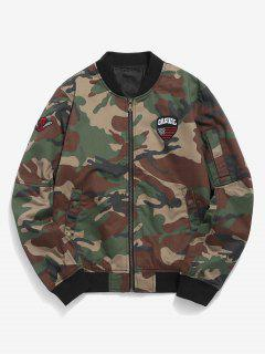 Camo Appliques Pockets Bomber Jacket - Camouflage Green 2xl