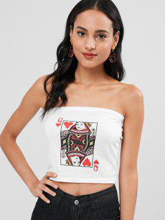 Card Print Crop Tube Top - Blanco Xl