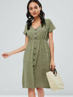 Button Up Knee Length Dress - Camouflage Green M