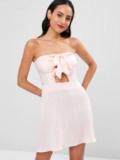 Double Knot Tie Strapless Dress - Pink Bubblegum Xl