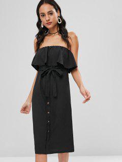 Buttoned Flounce Strapless Dress - Black Xl