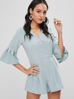Flared Sleeve Surplice Romper - Baby Blue M