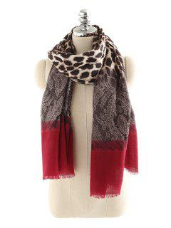 Vintage Leopard Print Fringed Oversized Scarf - Red One Szie