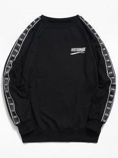 Sweat-shirt à Rayure Latérale Logo Au Poitrine - Noir L