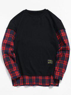 Check Patchwork Fake Two Piece Sweatshirt - Black L