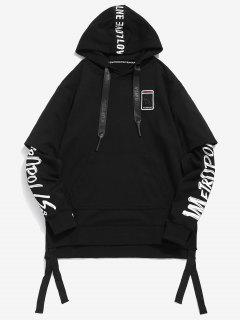 Applique Letter Fake Two Piece Hoodie - Black Xl