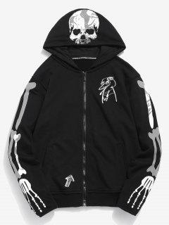 Graphic Embroidery Zip Hoodie - Black L