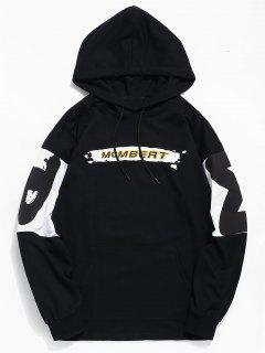 Contrast Letter Graphic Print Hoodie - Black S