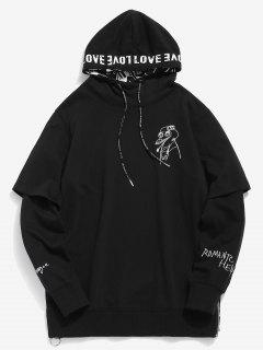 Graphic Embroidery Fake Two Piece Hoodie - Black L
