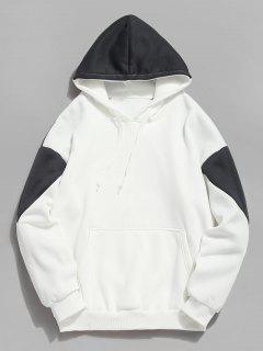 Color Block Pouch Pocket Fleece Hoodie - Gray S