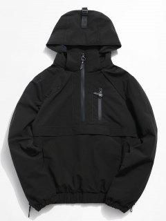 Half Zip Pocket Rain Jacket - Black M