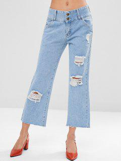 Ripped Cropped Jeans - Denim Blue M