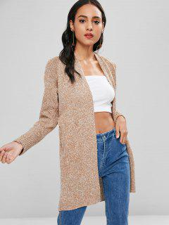 Open Front Two Tone Pockets Long Cardigan - Multi