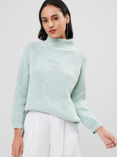 Step Hem Turtleneck Sweater - Green Thumb