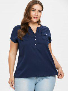 Flap Pockets Buttoned Plus Size Top - Deep Blue 3x