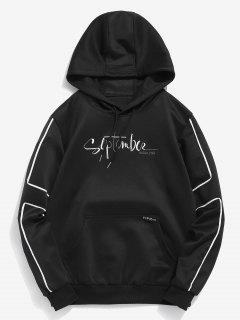 Embroidery Letter Pocket Fleece Contrast Hoodie - Black M