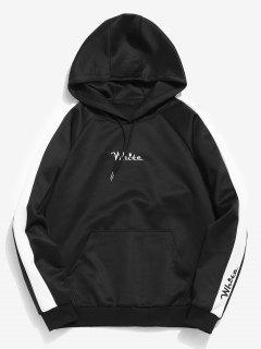 Contrast Embroidery White Pocket Fleece Hoodie - Black L
