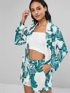 Leaf Print Blazer And Shorts Two Piece Set - Multi S
