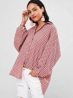 Batwing Oversized Gingham Blouse - Multi