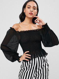 Smocked Off Shoulder Crop Blouse - Black