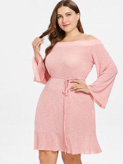 Plus Size Schulterfrei Knit Shift Kleid - Helles Rosa 4x