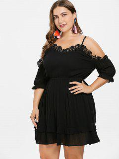Lace Trim Plus Size Cold Shoulder Dress - Black 1x