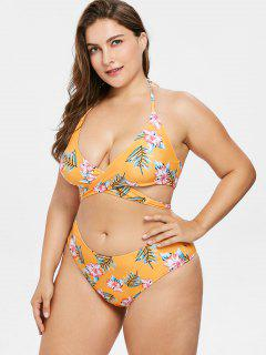 Floral Plus Size Wrap Bikini Set - Beer 2x
