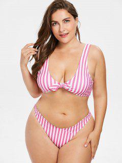 Plus Size Striped Tie Front Bikini Set - Hot Pink 3x