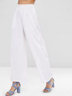 Wide Leg Stripes Pants - White S