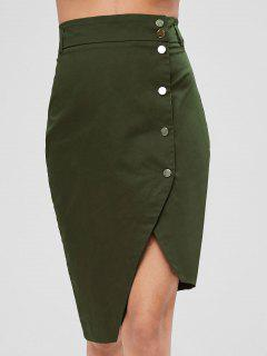 Snap Button Up Asymmetrical Skirt - Army Green S