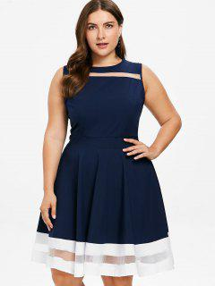 Mesh Trim Plus Size Skater Dress - Deep Blue 2x
