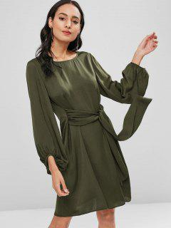 Long Sleeve Knotted Casual Dress - Army Green M