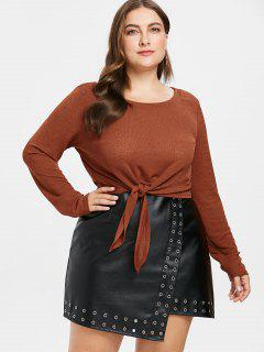 Front Knot Plus Size Knitted Tee - Caramel L